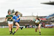 12 August 2018; Lyndsey Davvey of Dublin has her shot on goal blocked by Sarah Murphy of Kerry during the TG4 All-Ireland Ladies Football Senior Championship quarter-final match between Kerry and Dublin at Dr. Hyde Park, in Roscommon. Photo by Eóin Noonan/Sportsfile