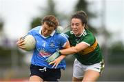12 August 2018; Leah Caffrey of Dublin in action against Aisling O'Connell of Kerry during the TG4 All-Ireland Ladies Football Senior Championship quarter-final match between Kerry and Dublin at Dr. Hyde Park, in Roscommon. Photo by Eóin Noonan/Sportsfile