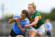 12 August 2018; Leah Caffrey of Dublin in action against Deirdre Kearney of Kerry during the TG4 All-Ireland Ladies Football Senior Championship quarter-final match between Kerry and Dublin at Dr. Hyde Park, in Roscommon. Photo by Eóin Noonan/Sportsfile