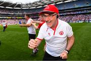 12 August 2018; Tyrone manager Mickey Harte celebrates at the final whistle of the GAA Football All-Ireland Senior Championship semi-final match between Monaghan and Tyrone at Croke Park in Dublin. Photo by Ramsey Cardy/Sportsfile