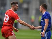 12 August 2018; Ryan Wylie of Monaghan is consoled by Harry Loughran of Tyrone after the GAA Football All-Ireland Senior Championship semi-final match between Monaghan and Tyrone at Croke Park in Dublin. Photo by Ray McManus/Sportsfile
