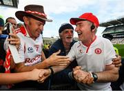 "12 August 2018; Tyrone manager Mickey Harte is congratulated by supporters, including Gerry ""Dublin Gerry"" Gowran following the GAA Football All-Ireland Senior Championship semi-final match between Monaghan and Tyrone at Croke Park in Dublin. Photo by Stephen McCarthy/Sportsfile"