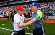 12 August 2018; Tyrone manager Mickey Harte, left, shakes hands with Monaghan manager Malachy O'Rourke following the GAA Football All-Ireland Senior Championship semi-final match between Monaghan and Tyrone at Croke Park in Dublin. Photo by Ramsey Cardy/Sportsfile