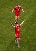 12 August 2018; Peter Harte, top, and Matthew Donnelly of Tyrone celebrate at the whistle of the GAA Football All-Ireland Senior Championship Semi-Final match between Monaghan and Tyrone at Croke Park, in Dublin. Photo by Daire Brennan/Sportsfile
