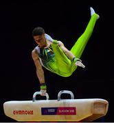 12 August 2018; Rhys McClenaghan of Ireland competing on the Pommel Horse in the Senior Men's Gymnastics final during day eleven of the 2018 European Championships in Glasgow, Scotland. Photo by David Fitzgerald/Sportsfile