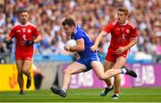 12 August 2018; Fintan Kelly of Monaghan is tackled by Peter Harte of Tyrone during the GAA Football All-Ireland Senior Championship semi-final match between Monaghan and Tyrone at Croke Park in Dublin. Photo by Ramsey Cardy/Sportsfile