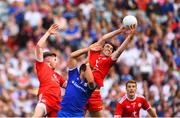 12 August 2018; Drew Wylie of Monaghan in action against Declan McClure, left, and Conall McCann of Tyrone during the GAA Football All-Ireland Senior Championship semi-final match between Monaghan and Tyrone at Croke Park in Dublin. Photo by Ramsey Cardy/Sportsfile