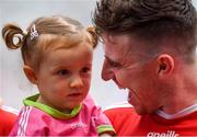 12 August 2018; Connor McAliskey of Tyrone celebrates with his niece Grace Colhoun after the GAA Football All-Ireland Senior Championship semi-final match between Monaghan and Tyrone at Croke Park in Dublin. Photo by Brendan Moran/Sportsfile