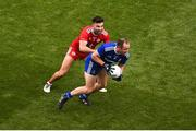 12 August 2018; Vinny Corey of Monaghan in action against Tiernan McCann of Tyrone during the GAA Football All-Ireland Senior Championship Semi-Final match between Monaghan and Tyrone at Croke Park, in Dublin. Photo by Daire Brennan/Sportsfile