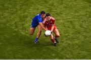 12 August 2018; Lee Brennan of Tyrone in action against Drew Wylie of Monaghan during the GAA Football All-Ireland Senior Championship Semi-Final match between Monaghan and Tyrone at Croke Park, in Dublin. Photo by Daire Brennan/Sportsfile