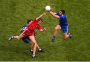12 August 2018; Drew Wylie of Monaghan in action against Peter Harte of Tyrone during the GAA Football All-Ireland Senior Championship Semi-Final match between Monaghan and Tyrone at Croke Park, in Dublin. Photo by Daire Brennan/Sportsfile