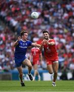 12 August 2018; Tiernan McCann of Tyrone in action against Fintan Kelly of Monaghan during the GAA Football All-Ireland Senior Championship semi-final match between Monaghan and Tyrone at Croke Park in Dublin. Photo by Ray McManus/Sportsfile