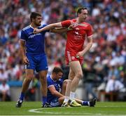 12 August 2018; Drew Wylie of Monaghan, left, and Ronan McNamee of Tyrone get to grips with each other during the GAA Football All-Ireland Senior Championship semi-final match between Monaghan and Tyrone at Croke Park in Dublin. Photo by Ray McManus/Sportsfile