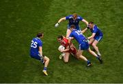12 August 2018; Colm Cavanagh of Tyrone in action against Monaghan players, left to right, Jack McCarron, Conor McManus, Kieran Hughes, and Ryan McAnespie during the GAA Football All-Ireland Senior Championship Semi-Final match between Monaghan and Tyrone at Croke Park, in Dublin. Photo by Daire Brennan/Sportsfile