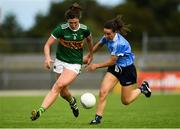 12 August 2018; Lorraine Scanlon of Kerry in action against Siobhán McGrath of Dublin during the TG4 All-Ireland Ladies Football Senior Championship quarter-final match between Kerry and Dublin at Dr. Hyde Park, in Roscommon. Photo by Eóin Noonan/Sportsfile