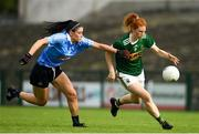12 August 2018; Louise Ní Mhuircheartaigh of Kerry in action against Olwen Carey of Dublin during the TG4 All-Ireland Ladies Football Senior Championship quarter-final match between Kerry and Dublin at Dr. Hyde Park, in Roscommon. Photo by Eóin Noonan/Sportsfile