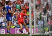 12 August 2018; Niall Sludden of Tyrone celebrates after scoring his side's only goal during the GAA Football All-Ireland Senior Championship semi-final match between Monaghan and Tyrone at Croke Park in Dublin. Photo by Brendan Moran/Sportsfile