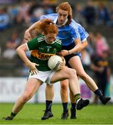 12 August 2018; Louise Ní Mhuircheartaigh of Kerry in action against Lauren Magee of Dublin during the TG4 All-Ireland Ladies Football Senior Championship quarter-final match between Kerry and Dublin at Dr. Hyde Park, in Roscommon. Photo by Eóin Noonan/Sportsfile