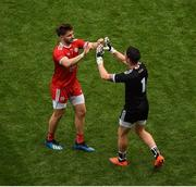12 August 2018; Pádraig Hampsey, left, and Niall Morgan of Tyrone celebrate after the GAA Football All-Ireland Senior Championship Semi-Final match between Monaghan and Tyrone at Croke Park, in Dublin. Photo by Daire Brennan/Sportsfile