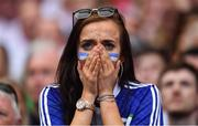 12 August 2018; A Monaghan supporter watches the final moments of the GAA Football All-Ireland Senior Championship semi-final match between Monaghan and Tyrone at Croke Park in Dublin. Photo by Brendan Moran/Sportsfile