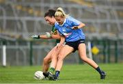 12 August 2018; Aisling O'Connell of Kerry in action against Nicole Owens of Dublin during the TG4 All-Ireland Ladies Football Senior Championship quarter-final match between Kerry and Dublin at Dr. Hyde Park, in Roscommon. Photo by Eóin Noonan/Sportsfile