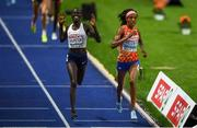 12 August 2018; Sifan Hassan of Netherlands, right, on her way to winning the Women's 5000m as Lonah Chemtai Salpeter of Israel celebrates a lap prematurely during Day 6 of the 2018 European Athletics Championships at The Olympic Stadium in Berlin, Germany. Photo by Sam Barnes/Sportsfile
