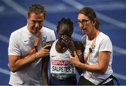 12 August 2018;A dejected Lonah Chemtai Salpeter of Israel is helped from the track after she celebrated a lap prematurely during the Women's 5000m final during Day 6 of the 2018 European Athletics Championships at The Olympic Stadium in Berlin, Germany. Photo by Sam Barnes/Sportsfile