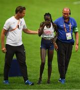 12 August 2018 ;A dejected Lonah Chemtai Salpeter of Israel is helped from the track after she celebrated a lap prematurely during the Women's 5000m final during Day 6 of the 2018 European Athletics Championships at The Olympic Stadium in Berlin, Germany. Photo by Sam Barnes/Sportsfile