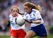 12 August 2018; Maeve Heenan, Kilbeheeny NS, Mitchelstown, Co Cork, representing Monaghan, and Katie Havern, Ballyholland PS, Newry, Co Down, representing Tyrone, during the INTO Cumann na mBunscol GAA Respect Exhibition Go Games at the GAA Football All-Ireland Senior Championship Semi Final match between Monaghan and Tyrone at Croke Park in Dublin. Photo by Stephen McCarthy/Sportsfile