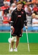12 August 2018; Injured Tyrone player Conor Meyler before the GAA Football All-Ireland Senior Championship semi-final match between Monaghan and Tyrone at Croke Park in Dublin. Photo by Piaras Ó Mídheach/Sportsfile