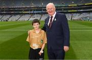 12 August 2018; Uachtarán Chumann Lúthchleas Gael John Horan with Referee Francis Flynn, St Mary's NS Aughnasheelin, Co Leitrim, before the INTO Cumann na mBunscol GAA Respect Exhibition Go Games at the GAA Football All-Ireland Senior Championship Semi Final match between Monaghan and Tyrone at Croke Park in Dublin.  Photo by Piaras Ó Mídheach/Sportsfile