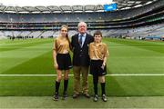 12 August 2018; Mini-Sevens Coordinator Gerry O'Meara with Referee Ellen Keany, St Brigid's NS, Drumcong, Co Leitrim, and Referee Francis Flynn, St Mary's NS Aughnasheelin, Co Leitrim, before the INTO Cumann na mBunscol GAA Respect Exhibition Go Games at the GAA Football All-Ireland Senior Championship Semi Final match between Monaghan and Tyrone at Croke Park in Dublin.  Photo by Piaras Ó Mídheach/Sportsfile