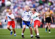 12 August 2018; Ciara O'Neill, The Rock NS, Portlaoise, Co Laois, representing Monaghan, and Katie Havern, Ballyholland PS, Newry, Co Down, representing Tyrone, during the INTO Cumann na mBunscol GAA Respect Exhibition Go Games at the GAA Football All-Ireland Senior Championship Semi Final match between Monaghan and Tyrone at Croke Park in Dublin.  Photo by Stephen McCarthy/Sportsfile