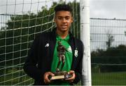 13 August 2018; Gavin Bazunu of Shamrock Rovers with his SSE Airtricity/SWAI Player of the Month award for July at Roadstone Sports and Social Club in Dublin. Photo by Harry Murphy/Sportsfile