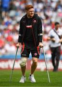 12 August 2018; Injured Tyrone player Conor Meyler prior to the GAA Football All-Ireland Senior Championship semi-final match between Monaghan and Tyrone at Croke Park in Dublin. Photo by Brendan Moran/Sportsfile
