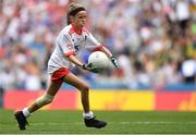 12 August 2018; Mia Shannon, St Teresa's NS, Co Longford, representing Tyrone, during the INTO Cumann na mBunscol GAA Respect Exhibition Go Games at the GAA Football All-Ireland Senior Championship Semi Final match between Monaghan and Tyrone at Croke Park in Dublin.  Photo by Brendan Moran/Sportsfile