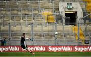 12 August 2018; Rory Beggan of Monaghan takes a free kick in front of an empty Hill 16 during the GAA Football All-Ireland Senior Championship semi-final match between Monaghan and Tyrone at Croke Park in Dublin. Photo by Brendan Moran/Sportsfile