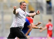 12 August 2018; Tyrone assistant manager Gavin Devlin celebrates at the final whistle of the GAA Football All-Ireland Senior Championship semi-final match between Monaghan and Tyrone at Croke Park in Dublin. Photo by Brendan Moran/Sportsfile