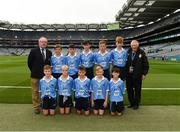 11 August 2018; Mini-Sevens Coordinator Gerry O'Meara, with the Dublin team, back row, left to right, Riley Mead, Milltown NS, Mullingar, Westmeath, Conor Yelland, St. Anthony's BNS, Ballinlough, Cork, Daithí Breathnach, Gaelscoil Chluain Dolcáin, Stephen McDowell, St.Michael's College, Ballsbridge, Dublin, James Tully, Clifferna NS, Stradone, Cavan, front row, left to right, Turlough Muldoon, Roan St Patrick's PS Eglish, Tyrone, Liam Barry, St Colmcilles BNS, Kells, Meath, Mattie McDermott, St Paul's PS, Irvinestown, Fermanagh, Fionn Connolly, Kilkerley NS, Dundalk, Louth, Joey Dalton, Borris NS, Borris, Carlow, ahead of the INTO Cumann na mBunscol GAA Respect Exhibition Go Games at the GAA Football All-Ireland Senior Championship Semi Final match between Dublin and Galway at Croke Park in Dublin. Photo by Daire Brennan/Sportsfile