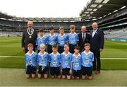 11 August 2018; President of the INTO Joe Killeen, President of Cumann na mBunscol Liam McGee, Uachtarán Chumann Lúthchleas Gael John Horan, with the Dublin team, back row, left to right, Conor Yelland, St. Anthony's BNS, Ballinlough, Cork, Daithí Breathnach, Gaelscoil Chluain Dolcáin, Stephen McDowell, St.Michael's College, Ballsbridge, Dublin, James Tully, Clifferna NS, Stradone, Cavan, front row, left to right, Turlough Muldoon, Roan St Patrick's PS Eglish, Tyrone, Liam Barry, St Colmcilles BNS, Kells, Meath, Mattie McDermott, St Paul's PS, Irvinestown, Fermanagh, Fionn Connolly, Kilkerley NS, Dundalk, Louth, Joey Dalton, Borris NS, Borris, Carlow, Riley Mead, Milltown NS, Mullingar, Westmeath, ahead of the INTO Cumann na mBunscol GAA Respect Exhibition Go Games at the GAA Football All-Ireland Senior Championship Semi Final match between Dublin and Galway at Croke Park in Dublin. Photo by Daire Brennan/Sportsfile