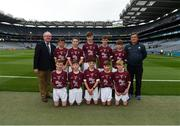 11 August 2018; Mini-Games co-ordinator Gerry O'Meara, with the Galway team, back row, left to right, Micheál Lynch, Scoil Dar Earca Valentia Island, Kerry, Cahal McKaigue, St. Patricks PS Glen, Maghera, Derry, Darren Keane, Lissycasey NS, Ennis, Clare, Jack Gleeson, Ardcroney NS, Nenagh, Tipperary, Dylan Coady, St Mary's NS, Ballygunner, Waterford, front row, left to right, James Carney, Highpark NS, Dromard, Sligo, Cian McCormack, St. Brigid's NS, Drumcong, Leitrim, Oisín O'Sullivan, Adare NS, Adare, Limerick, David Duffy, St.  Mary's NS Glaslough, Monaghan, Jeffrey Oates, St. Michael's & St. Patrick's NS, Boyle, Roscommon, ahead of the INTO Cumann na mBunscol GAA Respect Exhibition Go Games at the GAA Football All-Ireland Senior Championship Semi Final match between Dublin and Galway at Croke Park in Dublin. Photo by Daire Brennan/Sportsfile