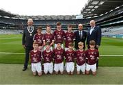 11 August 2018; INTO President Joe Killeen, President of Cumann na mBunscol Liam McGee, and Uachtarán Chumann Lúthchleas Gael John Horan, with the Galway team, back row, left to right, Micheál Lynch, Scoil Dar Earca Valentia Island, Kerry, Cahal McKaigue, St. Patricks PS Glen, Maghera, Derry, Darren Keane, Lissycasey NS, Ennis, Clare, Jack Gleeson, Ardcroney NS, Nenagh, Tipperary, front row, left to right, James Carney, Highpark NS, Dromard, Sligo, Cian McCormack, St. Brigid's NS, Drumcong, Leitrim, Oisín O'Sullivan, Adare NS, Adare, Limerick, David Duffy, St.  Mary's NS Glaslough, Monaghan, Jeffrey Oates, St. Michael's & St. Patrick's NS, Boyle, Roscommon, Dylan Coady, St Mary's NS, Ballygunner, Waterford, ahead of the INTO Cumann na mBunscol GAA Respect Exhibition Go Games at the GAA Football All-Ireland Senior Championship Semi Final match between Dublin and Galway at Croke Park in Dublin. Photo by Daire Brennan/Sportsfile