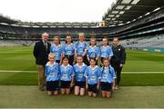 11 August 2018; Mini-Games co-ordinator Gerry O'Meara, with the Dublin team, back row, left to right, Ana Dragusin, Scoil Mhuire na nÁird, Shillelagh, Wicklow, Mia Buckley, Killavullen NS, Mallow, Cork, Tara Cleary Killeigh NS, Killeigh, Offaly, Ruby O'Connell Bell, Our Lady of Good Counsel GNS, Dublin, Lea Carey, St. MaryÆs NS, Sandyford, Dublin, front row, left to right, Lucy Donoghue, Tobar an Léinn, Mountrath, Laois, Meabh Coughlan, St Mary's PS Aughlisnafin, Castlewellan, Down, Tara McGrath, St Canices Co Ed, Granges Rd, Kilkenny, Saoirse Martin, St Mary's PS, Newtownbutler, Fermanagh, Beth Hackett, St. Malachy's PS Glencull, Ballygawley, Tyrone, ahead of the INTO Cumann na mBunscol GAA Respect Exhibition Go Games at the GAA Football All-Ireland Senior Championship Semi Final match between Dublin and Galway at Croke Park in Dublin. Photo by Daire Brennan/Sportsfile