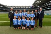 11 August 2018; INTO President Joe Killeen, President of Cumann na mBunscol Liam McGee, and Uachtarán Chumann Lúthchleas Gael John Horan, with the Dublin team, back row, left to right, Ana Dragusin, Scoil Mhuire na nÁird, Shillelagh, Wicklow, Mia Buckley, Killavullen NS, Mallow, Cork, Tara Cleary Killeigh NS, Killeigh, Offaly, Ruby O'Connell Bell, Our Lady of Good Counsel GNS, Dublin, Lea Carey, St. MaryÆs NS, Sandyford, Dublin, front row, left to right, Lucy Donoghue, Tobar an Léinn, Mountrath, Laois, Meabh Coughlan, St Mary's PS Aughlisnafin, Castlewellan, Down, Tara McGrath, St Canices Co Ed, Granges Rd, Kilkenny, Saoirse Martin, St Mary's PS, Newtownbutler, Fermanagh, Beth Hackett, St. Malachy's PS Glencull, Ballygawley, Tyrone, ahead of the INTO Cumann na mBunscol GAA Respect Exhibition Go Games at the GAA Football All-Ireland Senior Championship Semi Final match between Dublin and Galway at Croke Park in Dublin. Photo by Daire Brennan/Sportsfile