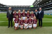 11 August 2018; President of the INTO Joe Killeen, President of Liam McGee, Uachtarán Chumann Lúthchleas Gael John Horan, with the Galway team, back row, left to right, Muireann Rahilly, Scartaglen NS, Killarney, Kerry, Emer McEntee, Gowna NS, Gowna, Cavan, Nicole McDaid, Scoil Iosagßin, Buncrana, Donegal, Ava Palasz, Newport NS, Newport, Mayo, Ellis O'Flaherty, Knockanean NS, Ennis, Clare, front row, left to right, Keanah Googin Irons, Scoil Ainnin Naofa, Rosscahill, Galway, Emily Breen, Roxborough NS, Ballysheedy, Limerick, Gracie Crimmins, St Brigid's PS Drumilly, Down, Lucia McQuillan, Mary Queen of Peace, Martinstown, Antrim, Lucy Shanahan, Clohanes NS, Clohanes, Clare, ahead of the INTO Cumann na mBunscol GAA Respect Exhibition Go Games at the GAA Football All-Ireland Senior Championship Semi Final match between Dublin and Galway at Croke Park in Dublin. Photo by Daire Brennan/Sportsfile