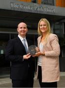 13 August 2018;  Alan Smullen, General Manager, The Croke Park, presents Yvonne Bonner of Donegal with The Croke Park and LGFA Player of the Month award for June, at The Croke Park, Jones Road, in Dublin. Yvonne was a key member of the Donegal team that retained the TG4 Ulster Ladies senior football title, scoring four goals across the course of two matches against Monaghan and Armagh in the provincial championship. Donegal have since advanced to a very first TG4 All-Ireland senior semi-final. Photo by Ramsey Cardy/Sportsfile