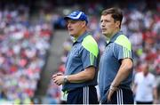 12 August 2018; Monaghan manager Malachy O'Rourke, left, and coach Ryan Porter during the GAA Football All-Ireland Senior Championship semi-final match between Monaghan and Tyrone at Croke Park in Dublin. Photo by Ramsey Cardy/Sportsfile