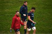 13 August 2018; JJ Hanrahan, Brian Scott, and Fineen Wycherley make their way out for Munster Rugby squad training at the University of Limerick in Limerick. Photo by Diarmuid Greene/Sportsfile