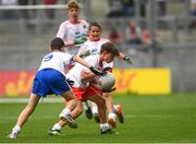 12 August 2018; Evan O'Mahony, Scoil Dhéagláin, De La Salle, Waterford, representing Tyrone, during the INTO Cumann na mBunscol GAA Respect Exhibition Go Games at the GAA Football All-Ireland Senior Championship Semi Final match between Monaghan and Tyrone at Croke Park in Dublin.  Photo by Piaras Ó Mídheach/Sportsfile