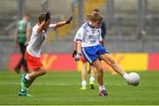 12 August 2018; Jamie Moynihan, Knockanes NS, Cill Áirne, Co Kerry, representing Monaghan, in action against Michael Kavanagh, Castletown NS, Gorey, Co Wexford, representing Tyrone, during the INTO Cumann na mBunscol GAA Respect Exhibition Go Games at the GAA Football All-Ireland Senior Championship Semi Final match between Monaghan and Tyrone at Croke Park in Dublin.  Photo by Piaras Ó Mídheach/Sportsfile